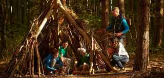 Family den building in the forest
