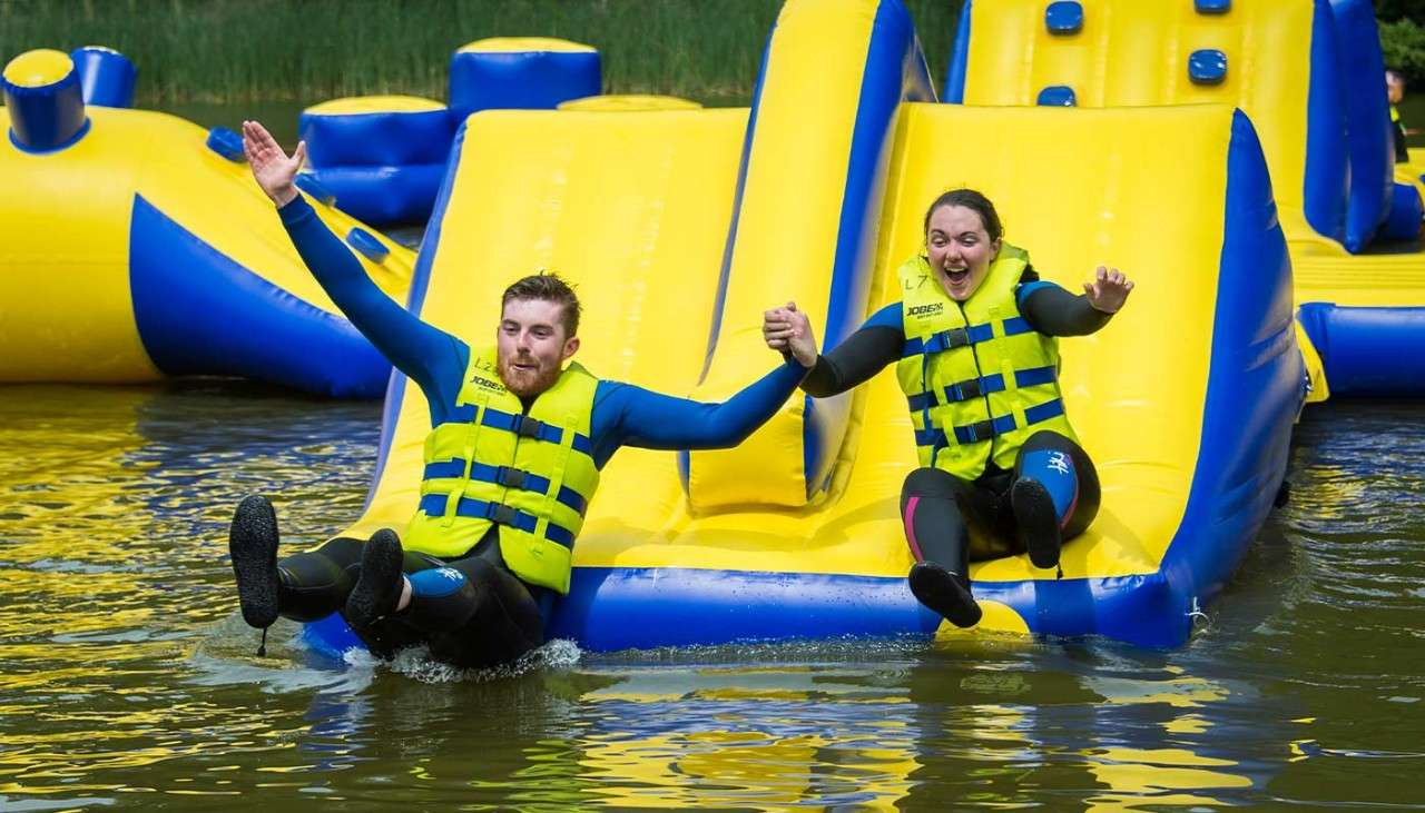 Aqua Parc inflatable obstacle course on the lake