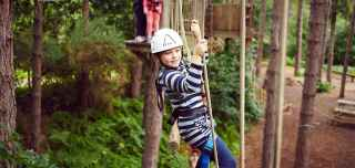 A girl doing our Aerial Adventure course up in the trees