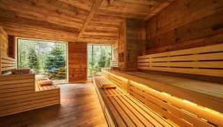Nordic sauna, light wooden sauna looking out onto beautiful woodlands.