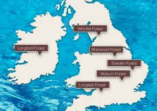 Map of spa locations at: Whinfell Forest in Cumbria, Sherwood Forest in Nottinghamshire, Elveden Forest in Suffolk, Woburn Forest in Bedfordshire and Longleat Forest in Wiltshire.