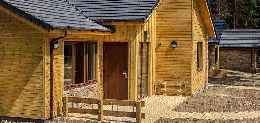 First completed lodge at Longford Forest