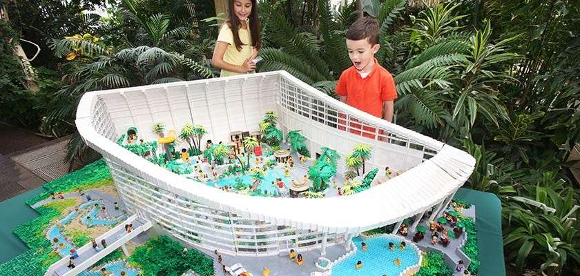 Lego model of the Subtropical Swimming Paradise at Longford Forest