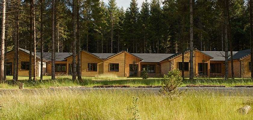 Row of accommodation at Longford Forest