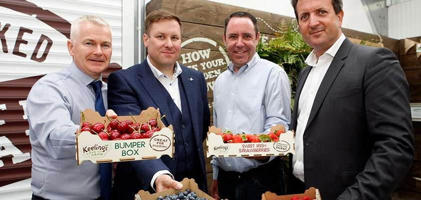Irish food suppliers holding boxes of fresh fruits