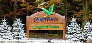 Longford Forest entrance decorated with snow for Christmas